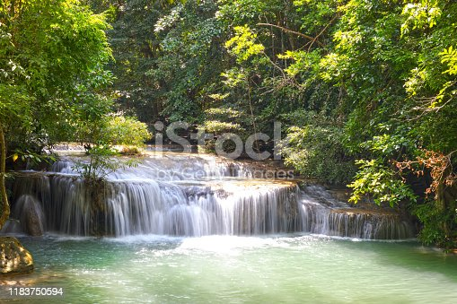 River and small steps of Erawan waterfalls between levels 3 and 4 in Kanchanaburi