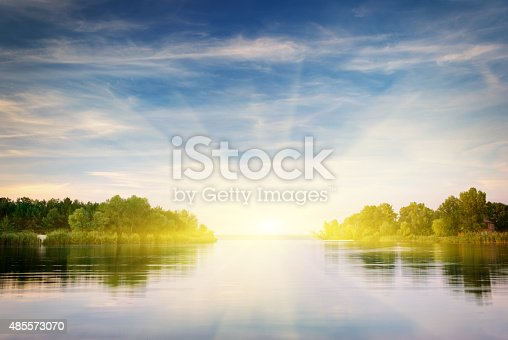 istock River and spring forest. 485573070