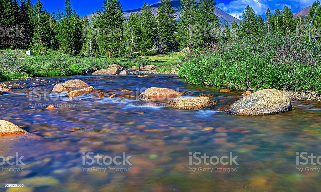 River and Stones in Yosemite National Park stock photo