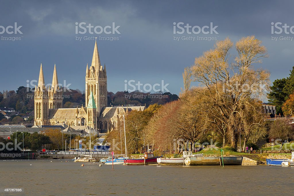 River and Truro Cathedral stock photo