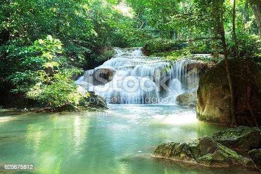 River and waterfall Erawan in Kanchanburi. Thailand