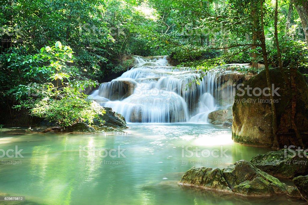 River and waterfalls in Kanchanburi stock photo