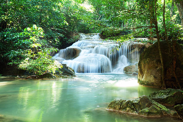 river and waterfalls in kanchanburi - waterfall stock photos and pictures