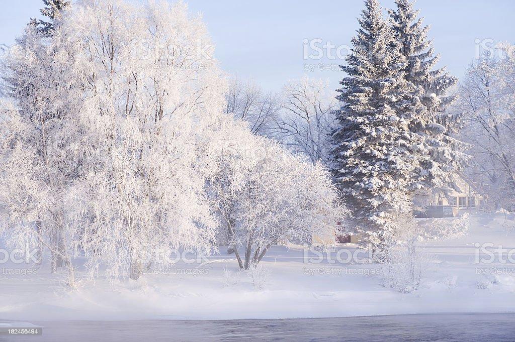 Río y paisaje de invierno foto de stock libre de derechos