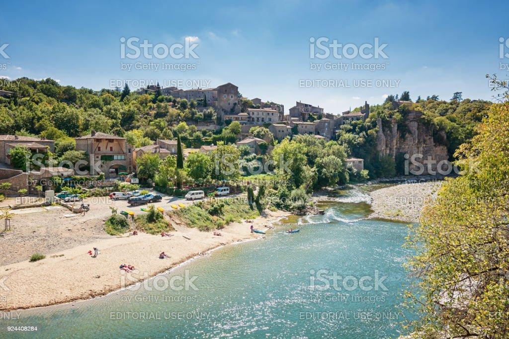 River Ardeche near the old village Balazuc stock photo