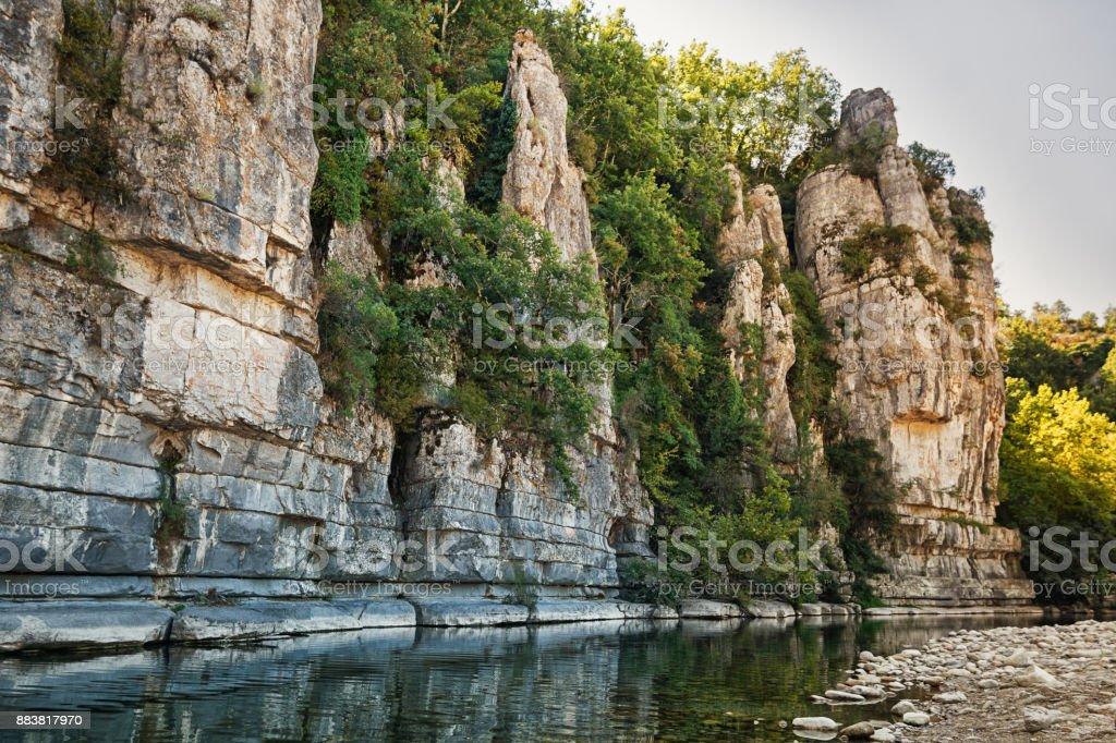 River Ardeche near the old village Labeaume stock photo