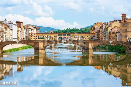 River Arno and Ponte Vecchio in Florence, Italy.