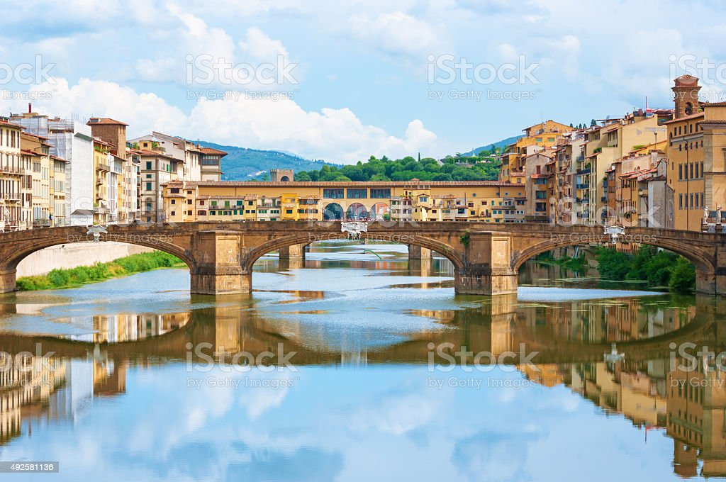 River Arno and Ponte Vecchio in Florence, Italy. stock photo