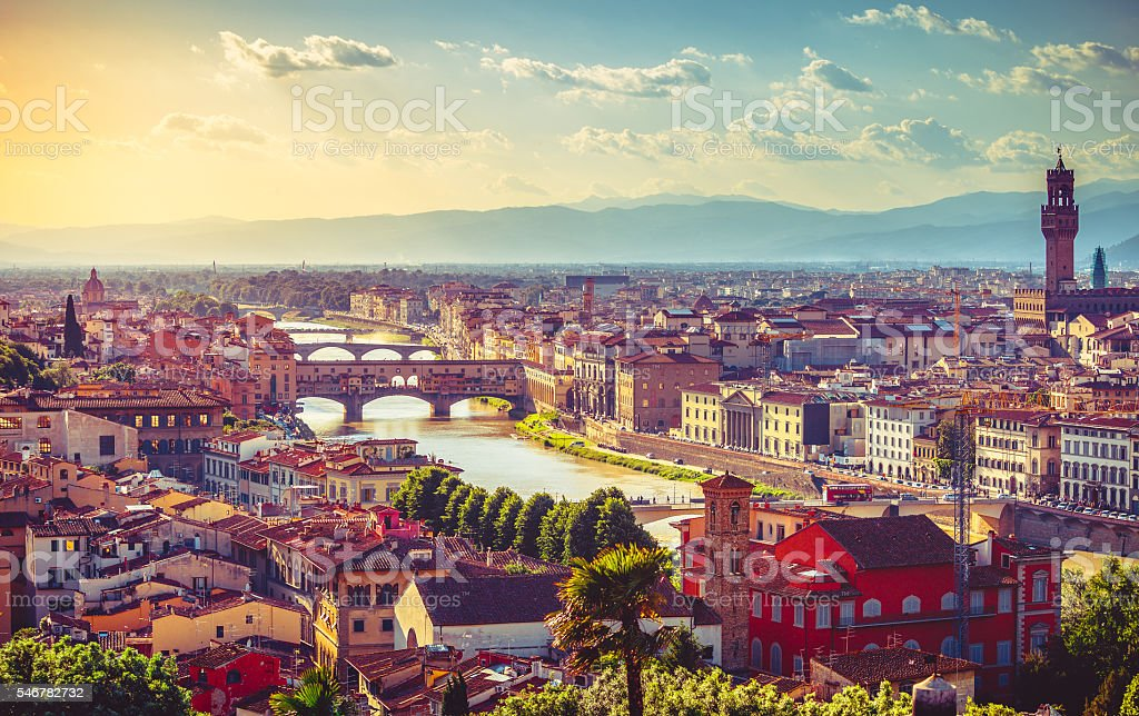 River arno in florence with bridge ponte vecchio stock photo