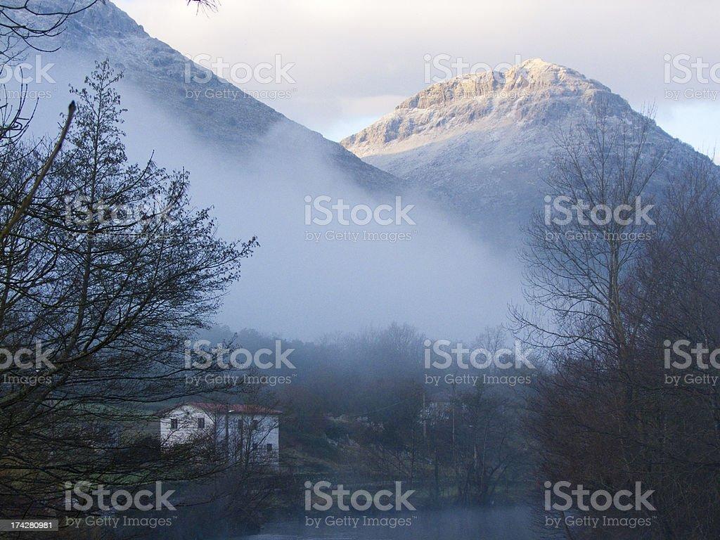 River Ason passing through Ramales de la victoria. Cantabria. Spain. royalty-free stock photo