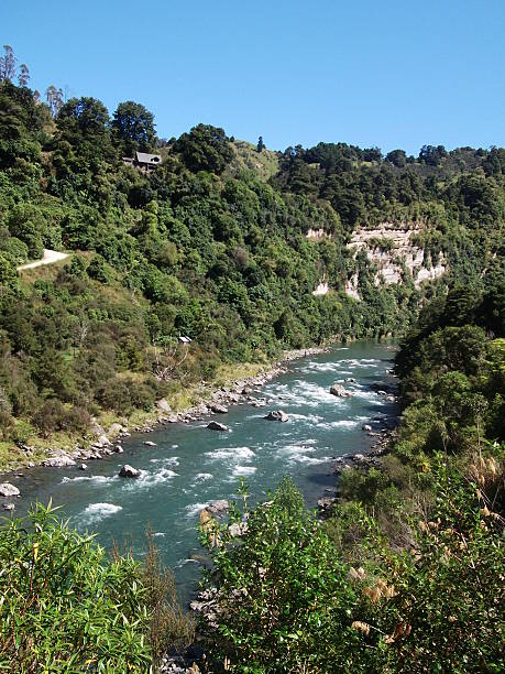 River at river valley New Zealand stock photo