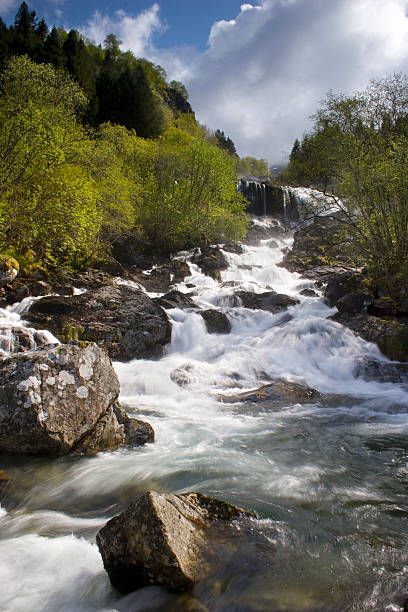 River at Rosendal 2, Hardanger, Bergen area, Norway. stock photo