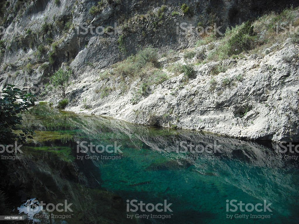 river bank, nature, river, trees, green, paradise, fairy, mirror, mountain, spain stock photo