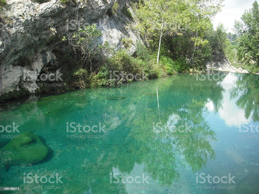 river bank, nature, river, trees, green, paradise, fairy, mountain, spain stock photo