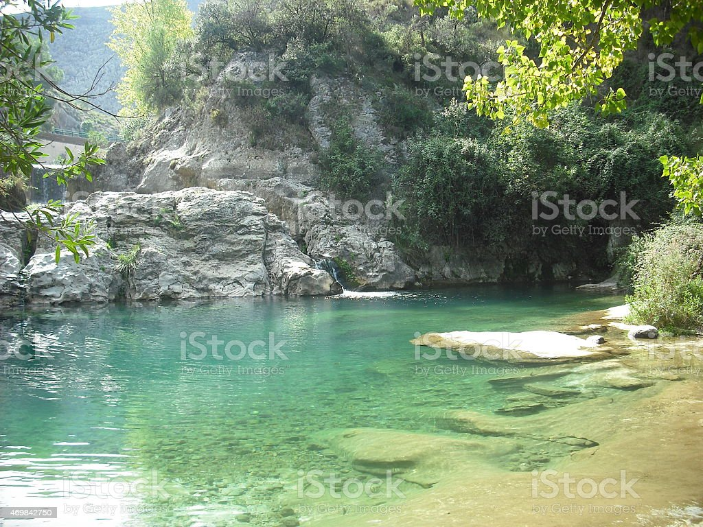 river bank, nature, river, trees, green, paradise, fairy, spain stock photo