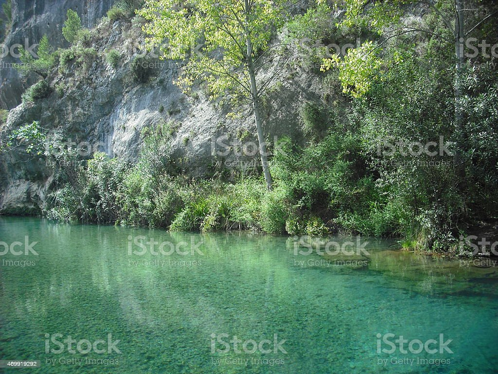 river bank, nature, river, trees, green, paradise, fairy, water, spain stock photo