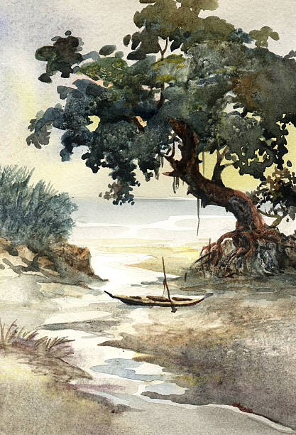 river bank tree watercolor painting stock photo