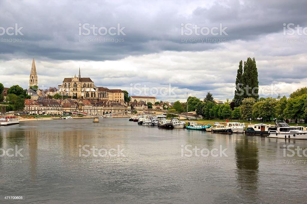 River banks Yonne, Auxerre stock photo