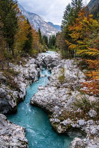 River Bed of Soca River in Julian Alps, Slovenia, Europe.
