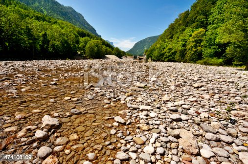 Dry River Bed in the Bavarian Alps, Germany
