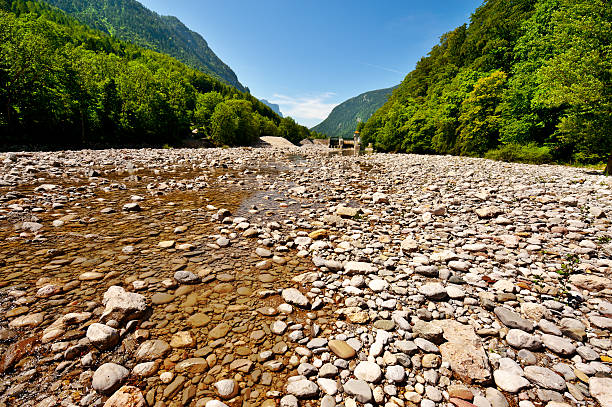 River Bed Dry River Bed in the Bavarian Alps, Germany riverbed stock pictures, royalty-free photos & images