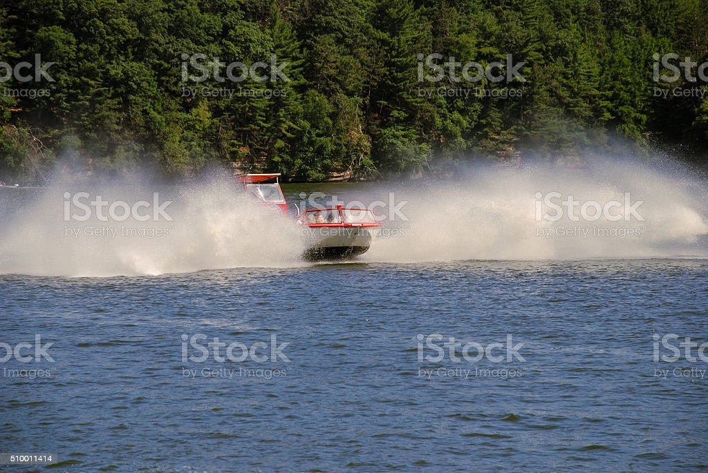 River boat makes a U-turn stock photo
