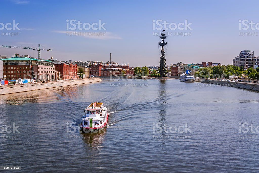 River boat on the Moscow River stock photo