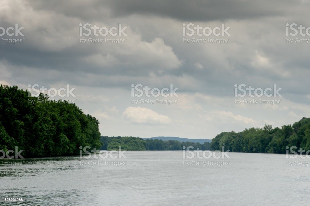 River Bordered by Trees stock photo