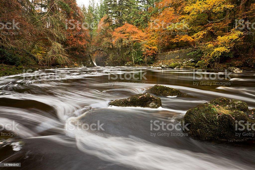 River Braan at the Hermitage, Dunkeld. stock photo