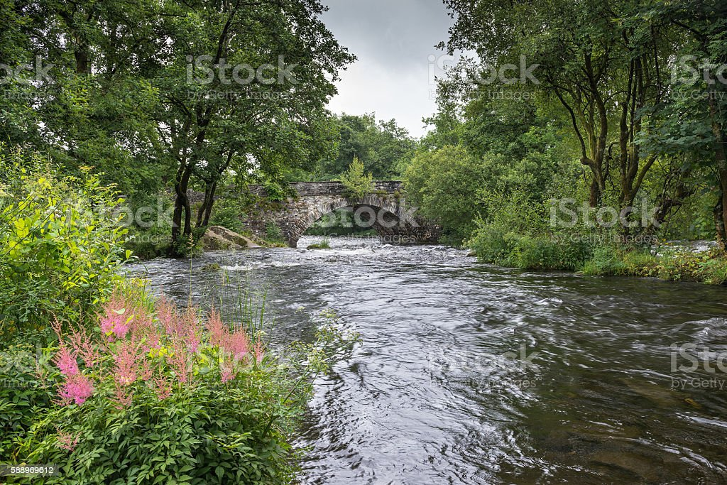 River Brathay at Skelwith Bridge. stock photo