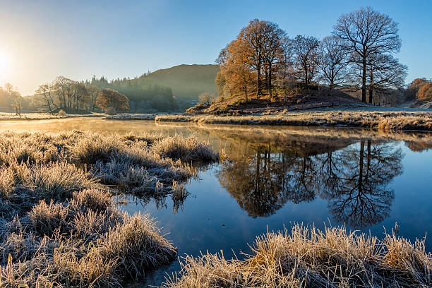 river brathay autumn reflections, lake district, uk. - natural phenomenon stock photos and pictures