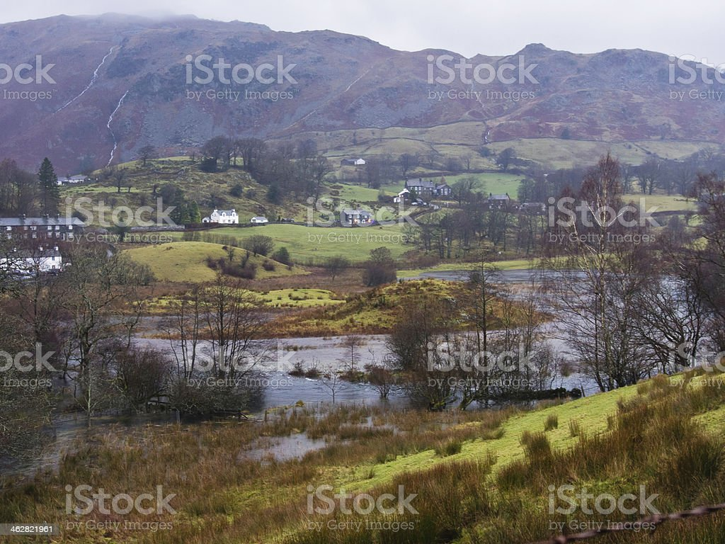 River Brathay in flood, Little langdale stock photo