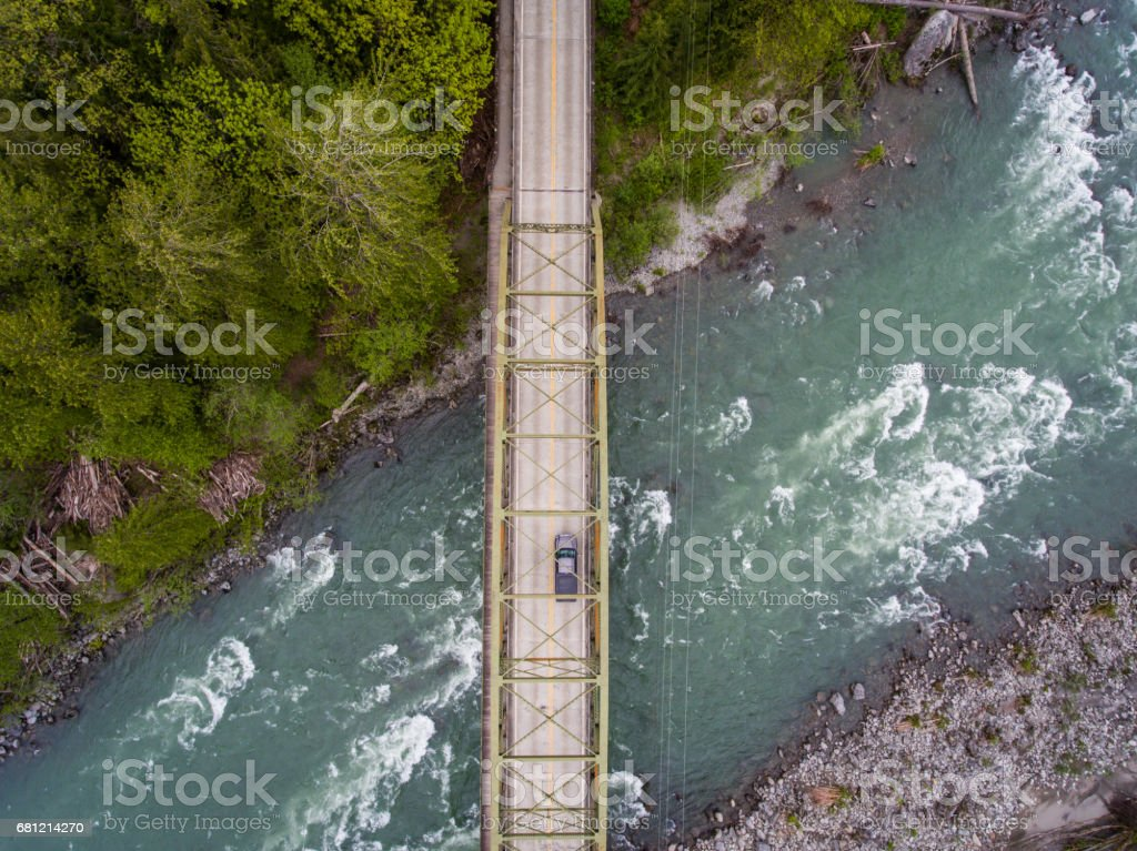 River & Bridge Aerial royalty-free stock photo