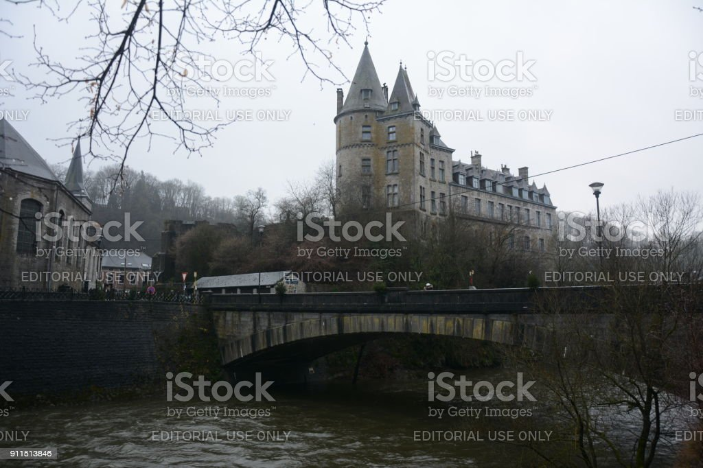 River, bridge with castle as background stock photo
