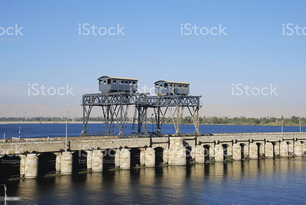 River Bridge with Cranes royalty-free stock photo
