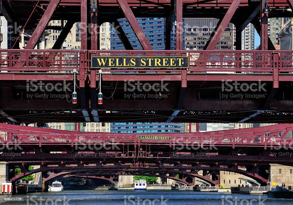River bridges across the Chicago River stock photo