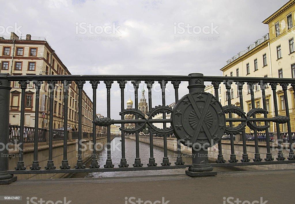 River Channel and Bridge Railings in Saint Petersburg, Russia stock photo