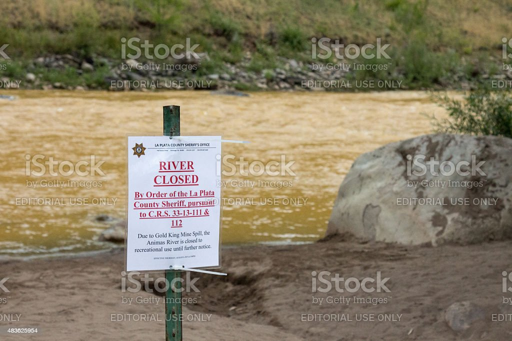 River closed in Durango, CO due to an EPA accident stock photo