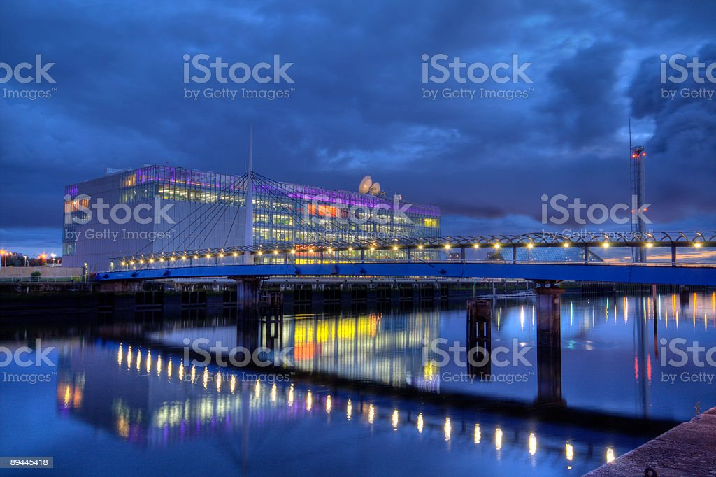 River Clyde, Glasgow, Scotland at night. royalty-free stock photo