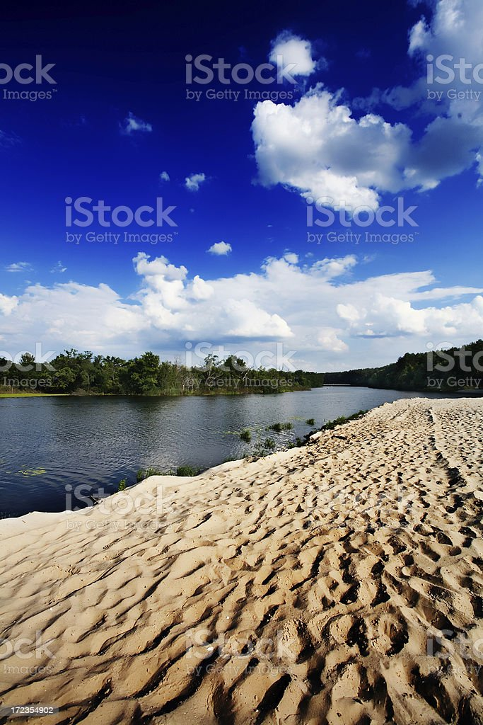 River coast with sand beach royalty-free stock photo
