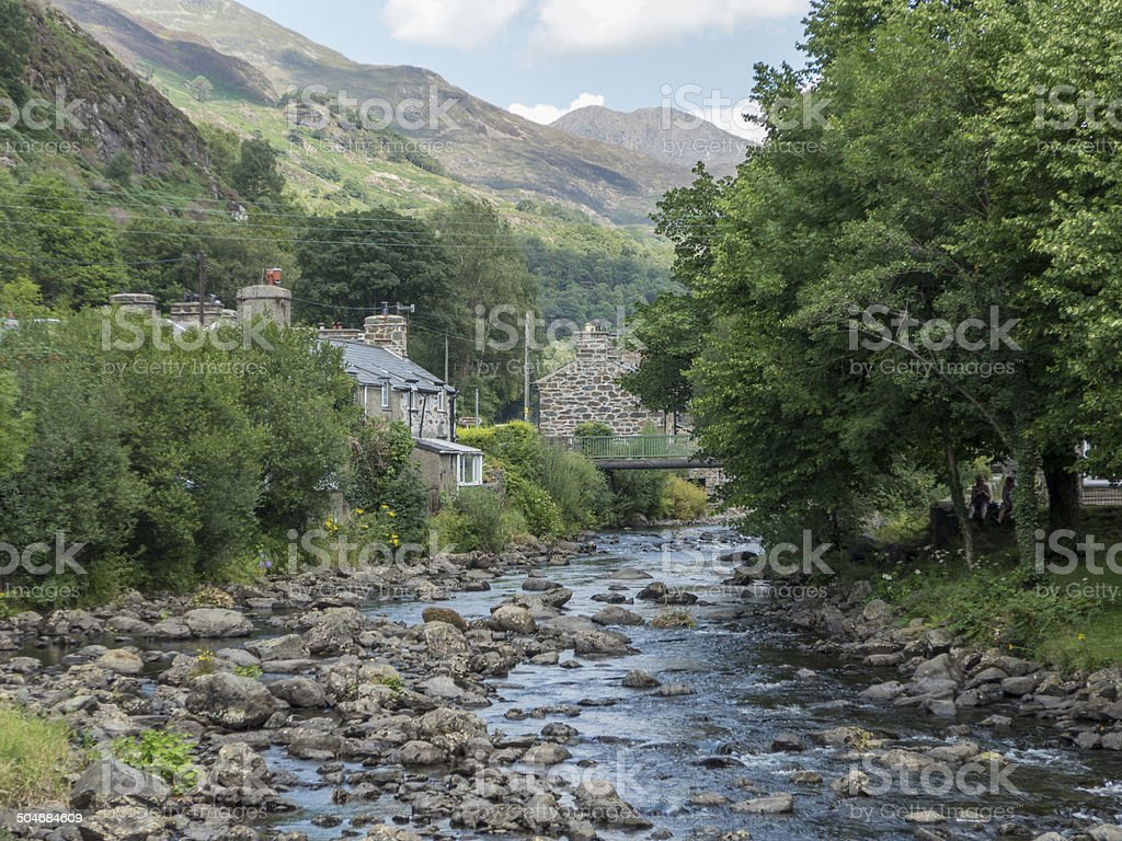 river conwy at beddgelert, north wales stock photo