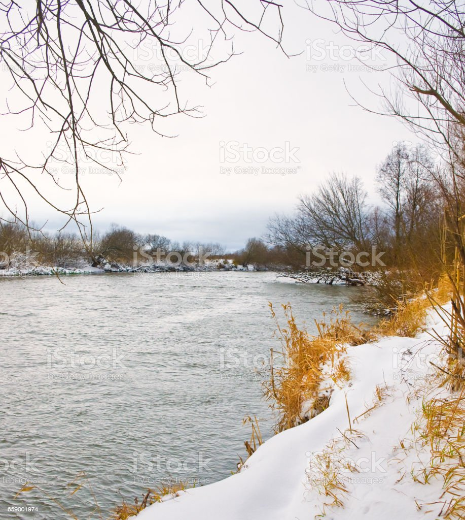 River covered with snow royalty-free stock photo