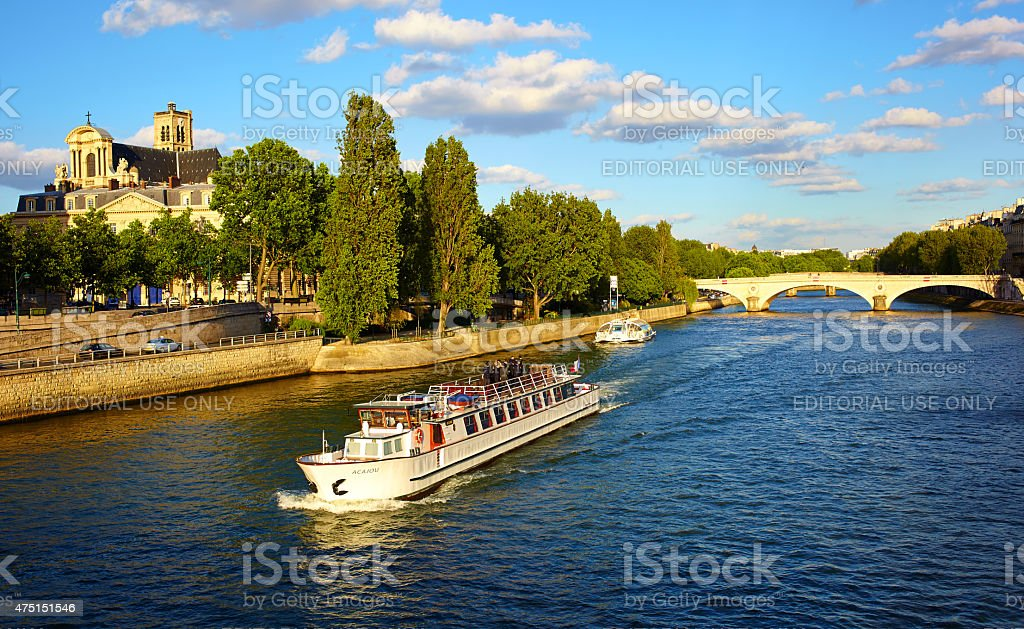 River Cruise Along The Seine stock photo