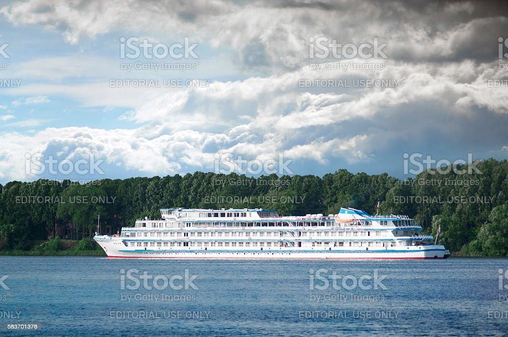 River cruise ship stock photo