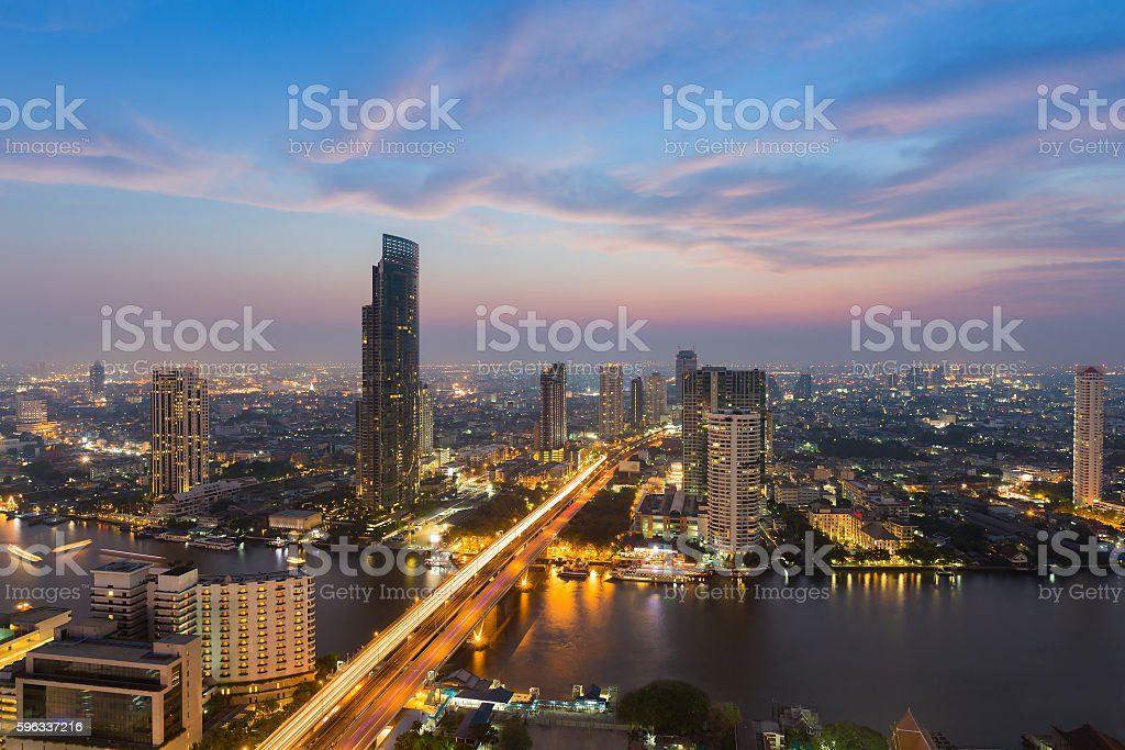 River curved over Bangkok city centre downtown royalty-free stock photo