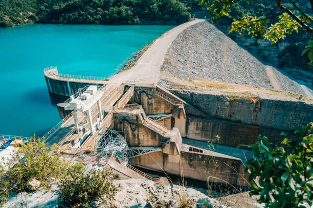 River dam seen from above, Provence, France stock photo