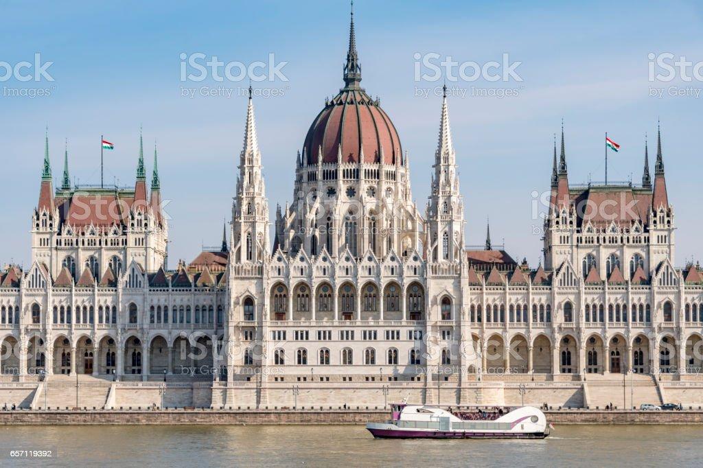 River Danube River Tour Boat in Budapest stock photo