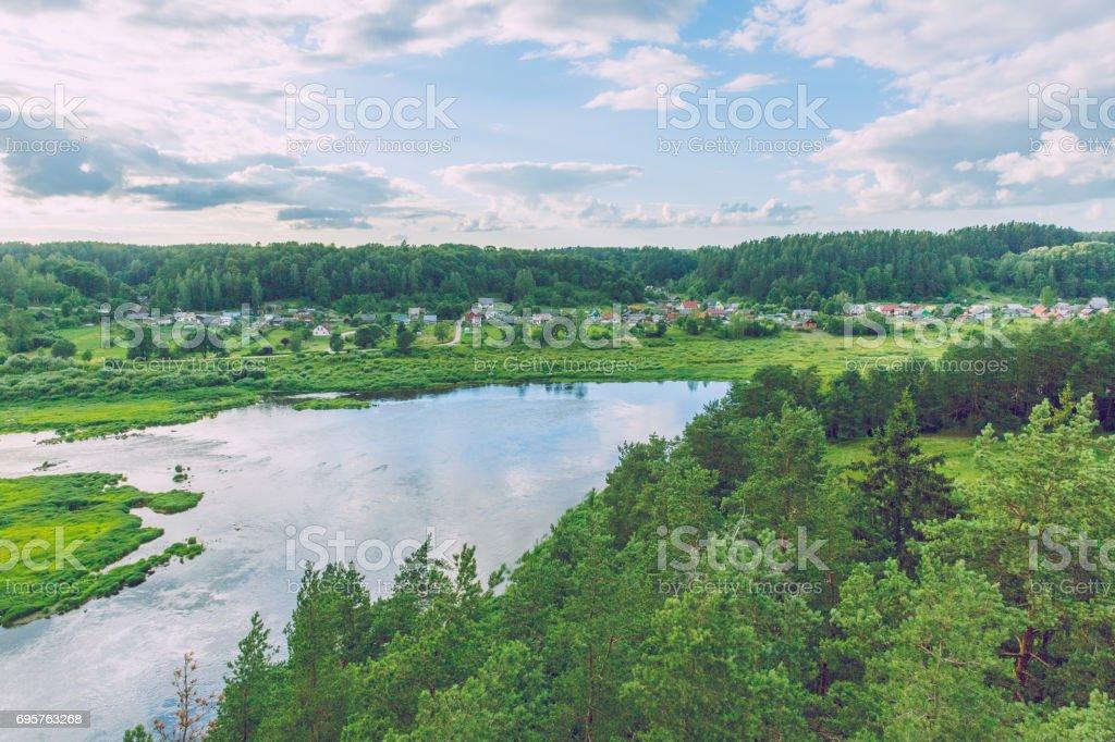 River Daugava at Latvia, city Kraslava. 2016 stock photo
