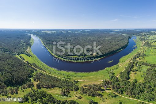Vasargeliski observation tower close to the river Daugava. View from 120m high above from a drone.