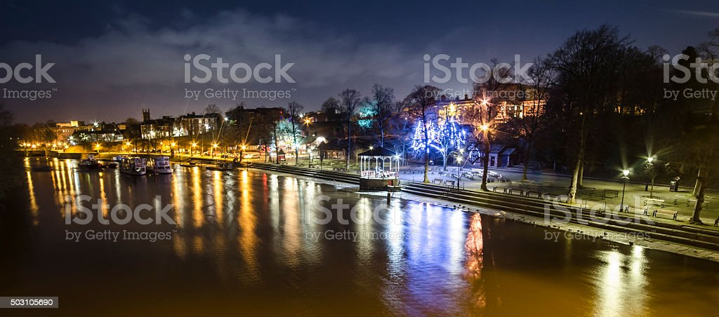 River Dee and Bandstand in Chester at Night stock photo